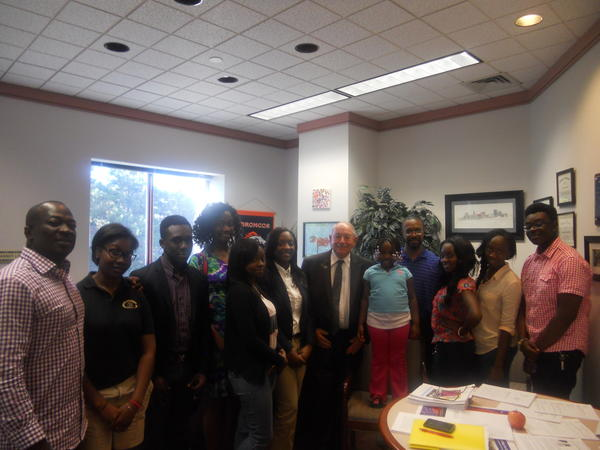 Members of a new group called Ghanian Youth Educational Outreach recently met with state Sen. Steve Cassano in his office.