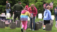 VIDEO: Fifth-grade students place grave flags