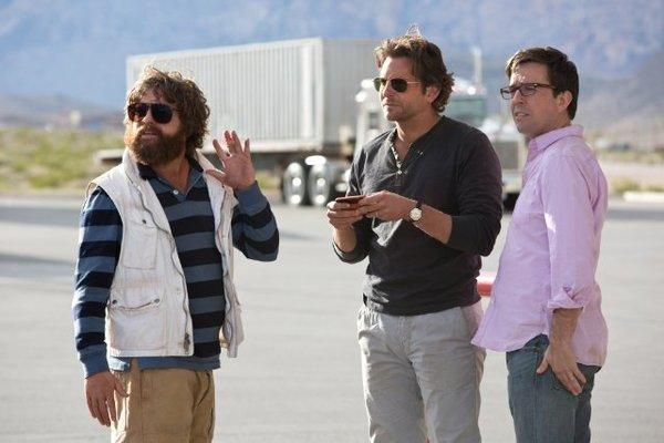 "Zach Galifianakis, left, Bradley Cooper and Ed Helms in ""The Hangover Part III."""