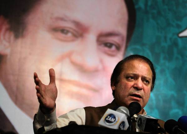 "Nawaz Sharif, the presumptive new prime minister of Pakistan, addresses party members in Lahore. One of Sharif's advisors called the policy shift on drones outlined by President Obama this week ""a positive sign."""
