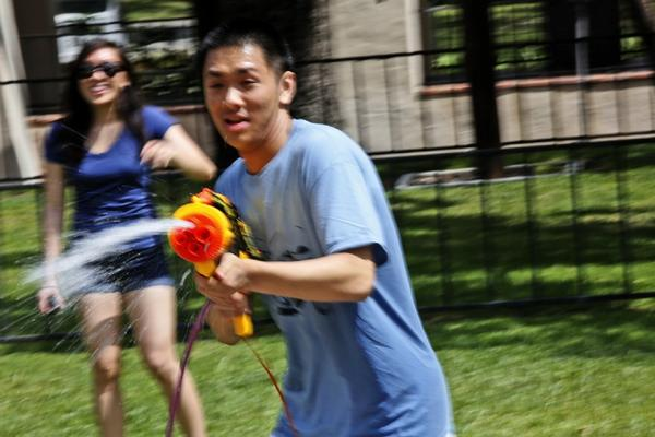 "Caltech students partake in a water balloon and gun fight on ""Ditch Day."""