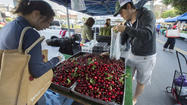 Shoppers at the Hollywood farmers market look at cherries.