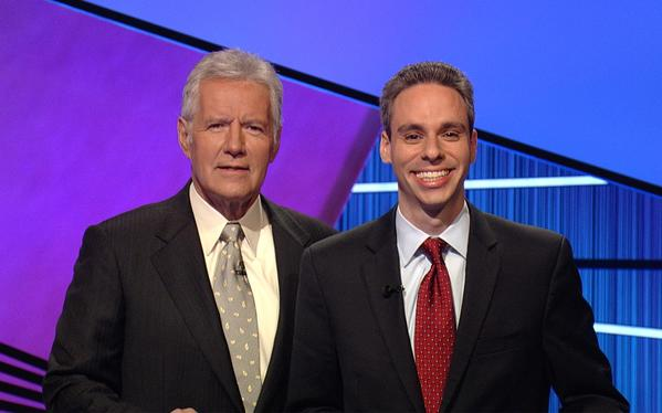 Fl-boca-trivia-pays-off - Here is Jeopardy! Host Alex Trebek with Scott Singer, a Boca Raton lawyer, during his stint earlier this year on the long-running game show. - Handout photo provided by: Scott Singer
