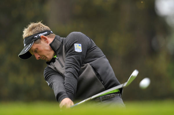 Luke Donald plays his shot from the 8th tee during the first round of the BMW PGA Championship at Wentworth Golf Club in Surrey, England.