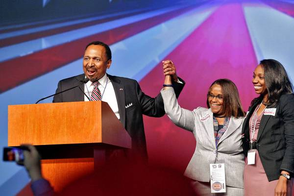E.W. Jackson speaks after accepting the Republican nomination for Lieutenant Governor during the Republican Party of Virginia State Convention at the Richmond Coliseum on May 18.