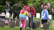 Sharpsburg Elementary School fifth-grader Kahlin Stydinger said placing American flags on the graves at Antietam National Cemetery was a way to reward the Civil War soldiers buried there because of what they fought for.