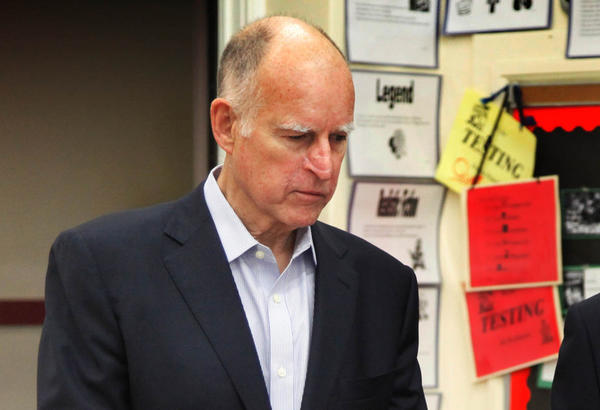 "Gov. Jerry Brown held a news conference at Humphreys Avenue Elementary School with supporters to call for action on his plan, ""Local Control Funding Formula,"" which aims to improve how schools are funded in California."