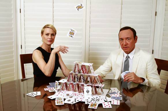 "Kevin Spacey and Robin Wright star in the Netflix series ""House of Cards,"" which looks at political gamesmanship in Washington."