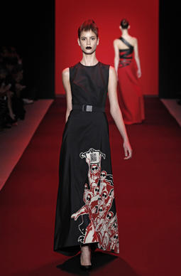 Vivienne Tam silk-cotton faille gown with  propaganda-print applique, available Sept. 30.