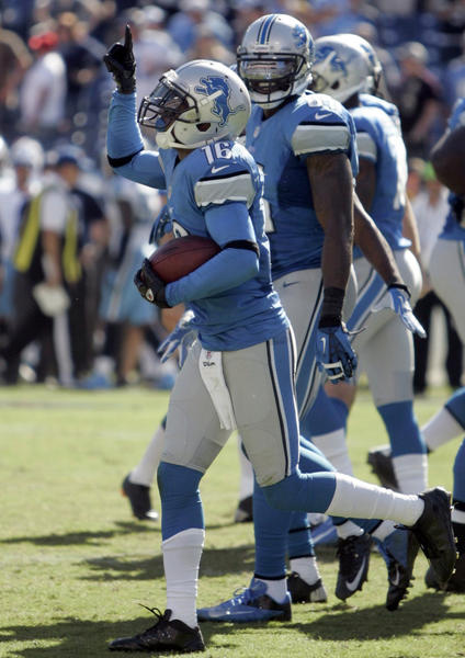 The Lions' Titus Young celebrates his touchdown catch against the Titans.