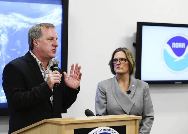 Gerry Bell, lead hurricane season forecaster at the National Oceanic and Atmospheric Administration, discusses predictions for an active storm season this year. With him is NOAA Director Kathleen Sullivan.