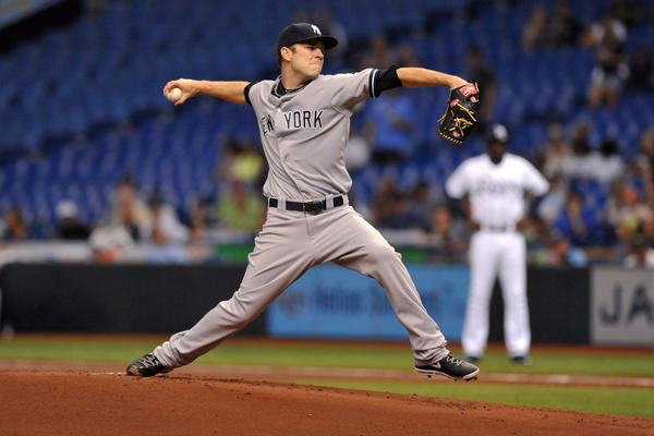 Pitcher David Phelps #41 of the New York Yankees starts against the Tampa Bay Rays May 24, 2013 at Tropicana Field in St. Petersburg, Florida.