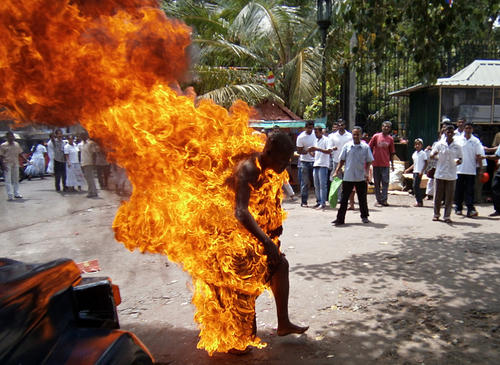 Sri Lankan Buddhist monk Bowatte Indaratane is engulfed in flames after he set himself on fire in the central town of Kandy on May 24, 2013. Indaratane self-immolated in the central town of Kandy to protest against the slaughter of cattle in the country, reports said.