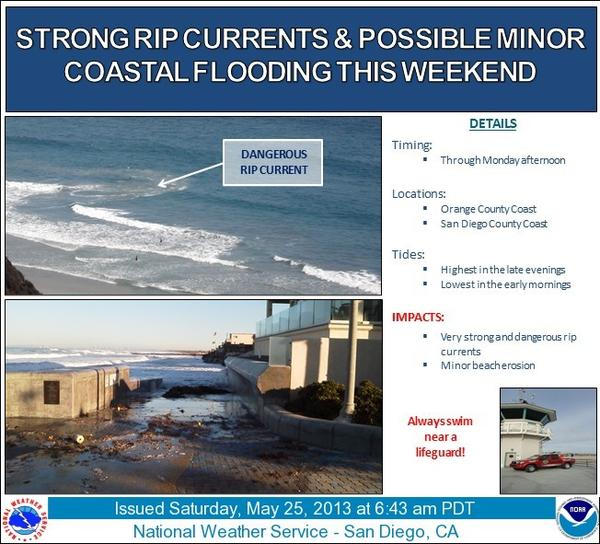 The National Weather Service warned of strong rip currents and possible minor coastal flooding this weekend.