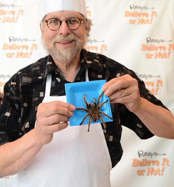 "America's master chef of bug cooking and author of the ""Eat-a-Bug Cookbook,"" David G. Gordon, displays a plate with a tarantula on display at BUGFEST 2013 at Ripley's Believe It or Not in Hollywood, California on May 24, 2013, where 'The Bug Chef' cooked up a sampling of crunchy critters while bringing awareness to the protein-rich benefits of bugs."