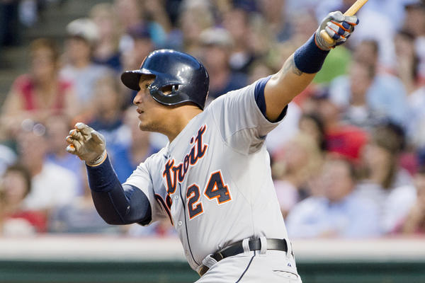 The Tigers' Miguel Cabrera hit a two-run home run during the sixth inning against the Indians.