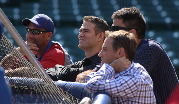 Dale Sveum, Theo Epstein, Jason McLeod and Jed Hoyer at Wrigley Field.