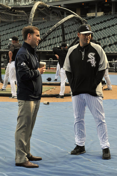 White Sox GM Rick Hahn and manager Robin Ventura talk during batting practice.