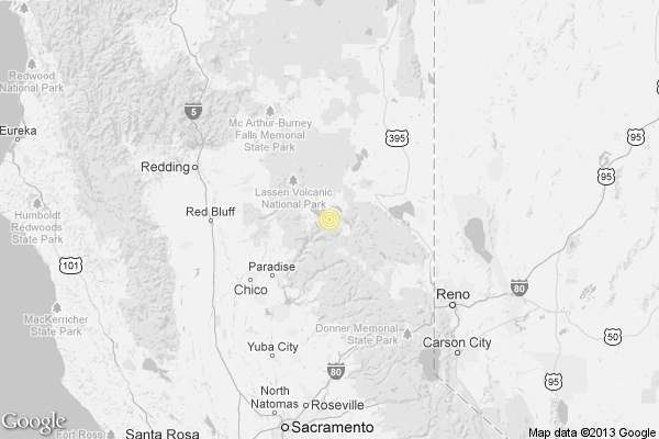 A map showing the location of the epicenter of Saturday afternoon's quake near Greenville, California.
