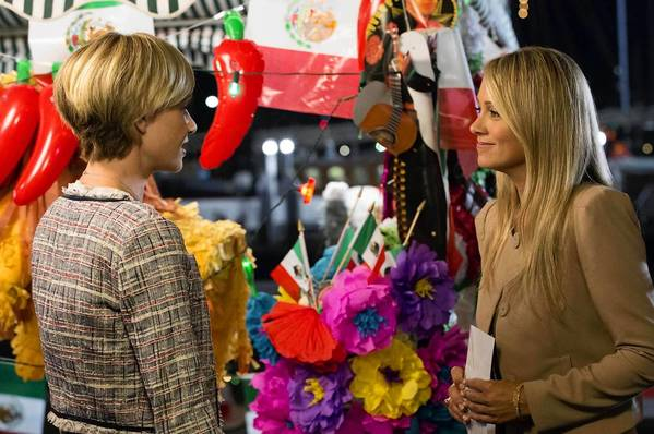 Portia de Rossi and Christine Taylor film a scene for the upcoming season of Arrested Development on Netflix.