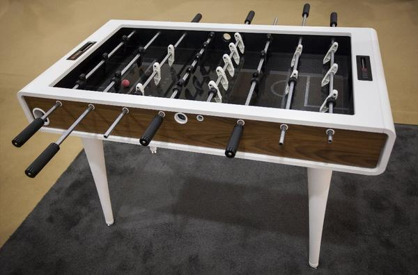 "The powder-coated foosball table by Mars Made is made to order in Rhode Island. ""It's furniture you can play with,"" said the company co-founder, industrial designer Justin Sirotin said. Price: $12,500."