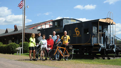 Hit the Dusty Trail Duathlon leadership committee members front row from left: Jenny Shank, Brenda Chapple-Fulton and Jim Shank; middle row: Denise Spory and Karlice Makuchan; back row: Jeff Christner and Edward Makuchan pause before hitting the bike trail in Meyersdale Saturday.