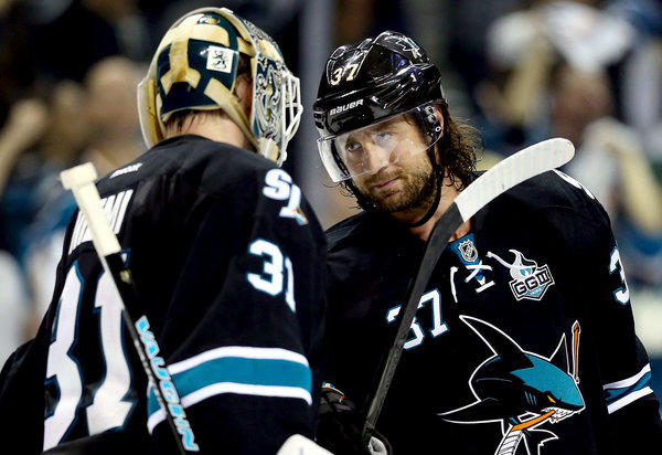 Adam Burish, right, who broke his hand May 7, might make his series debut on Saturday.