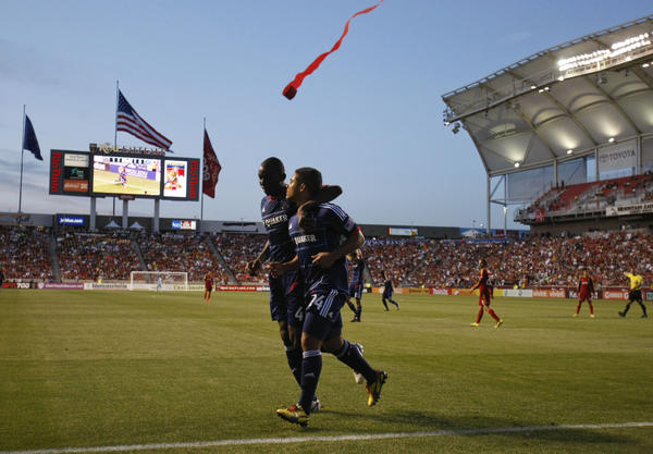Quincy Amarikwa celebrates with Bakary Soumare after scoring a goal against Real Salt Lake during the second half.
