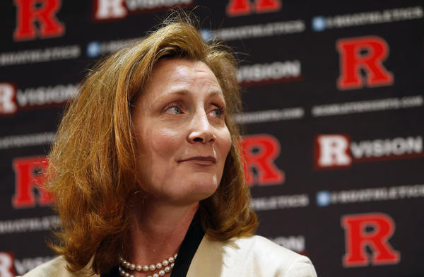 Julie Hermann looks on before being introduced as Rutgers University athletic director on May 15.
