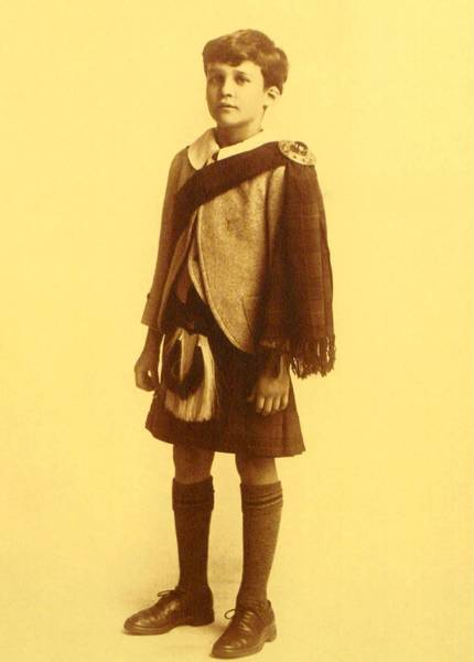 Young James Laughlin IV, born in 1914, models the Scottish outfit his father ordered for him. In adulthood, Laughlin would become one of America's greatest publishers. His memoirs included recollections of Sydonie, the family's winter home in Zellwood, where he adored the Scottish-born estate manager, William Edwards.