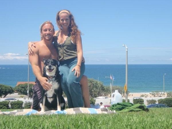 "Stephen ""Jack"" Jakobot, 29, his girlfriend Kelly Koleos, and his dog Layla, who survived rollover wreck in which he died Saturday."