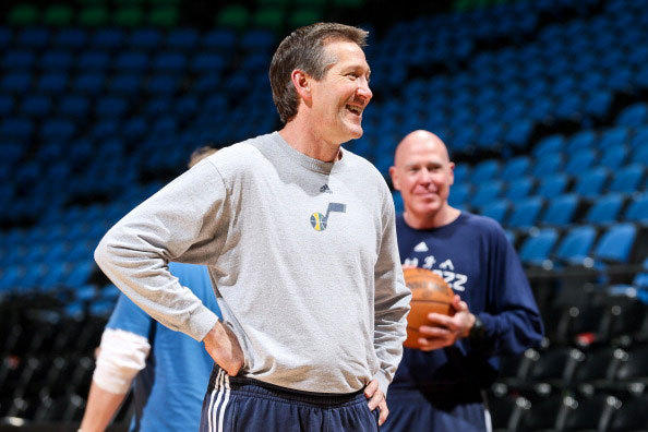 Jeff Hornacek, assistant coach of the Utah Jazz, smiles before a game against the Minnesota Timberwolves on April 15, 2013 at Target Center in Minneapolis, Minnesota.