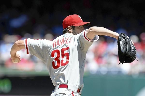 Phillies starter Cole Hamels had a shutout going into the seventh, but Washington exploded for five runs in the inning.