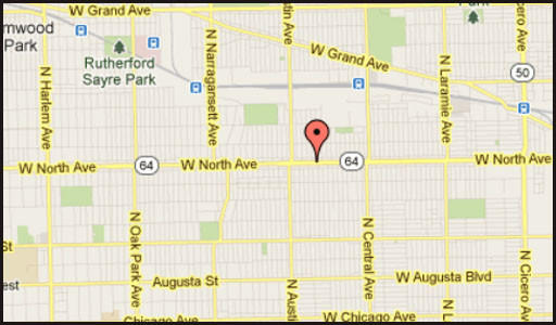 Map of location of where a man was critically wounded in a domestic-related stabbing in the city's North Austin neighborhood.