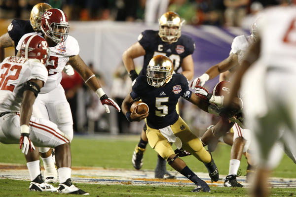 Everett Golson (5) in action against Alabama in the National Championship.