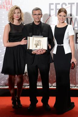 "Actress Mona Walravens, left, director Abdellatif Kechiche and actress Lea Seydoux, winner of the Palme d'Or for ""La Vie D'adele"" (&"