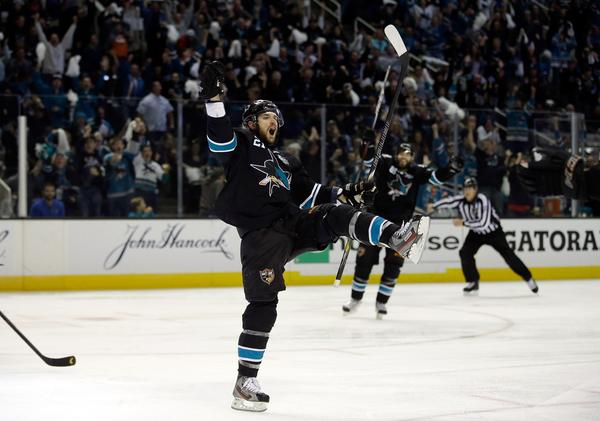 San Jose Sharks' T.J. Galiardi celebrates after he scored a goal in the second period.
