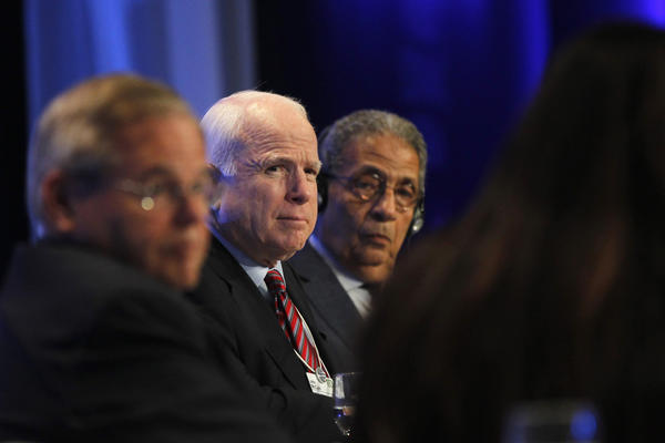 "U.S. Chairman of the Senate Committee on Foreign Relations Robert Menendez (L), U.S. Senator John McCain (C) and Egyptian opposition leader Amr Moussa participate in the ""Foreign Policy Outlook"" session at the World Economic Forum on the Middle East and North Africa 2013 at the King Hussein Convention Center, at the Dead Sea."