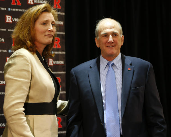 Rutgers University President Robert L. Barchi (right) introduces Julie Hermann as the new athletic director on May 15.