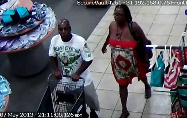 Coral Springs Police are searching for the couple that stole 19 pairs of shoes from the Burlington Coat Factory