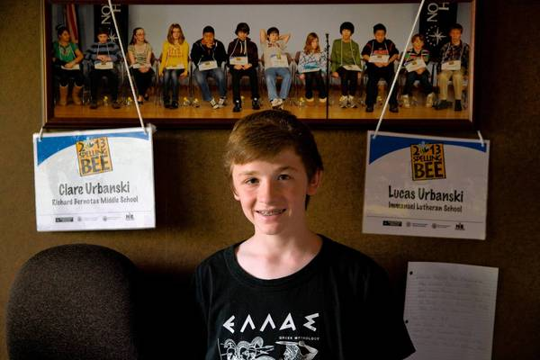 Lucas Urbanski, 13, of Crystal Lake, is in the Scripps National Spelling Bee. His twin sister Clare also competes in bees.