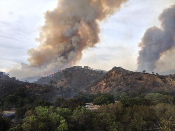 Smoke from the White fire in the Los Padres National Forest near Santa Barbara.