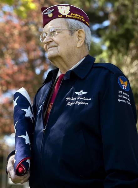 Walter Kuchinos was a flight engineer/gunner on a B-24 during World War II. He was shot down over France in June 1944.