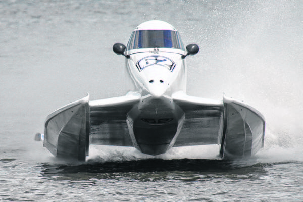 This is the boat Chris Fairchild will operate in the upcoming Maple City Grand Prix on Stone Lake in LaPorte
