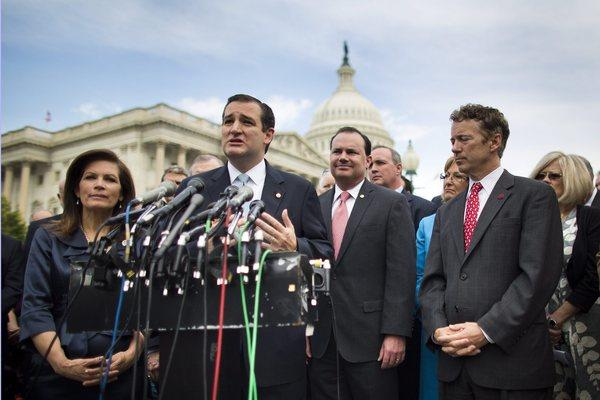 Republican Senator from Texas Ted Cruz, along with Republican Rep. Michele Bachmann, and Republican Senator from Kentucky Rand Paul, join Tea Party members to speak to the media about the IRS targeting of conservative groups in Washington.