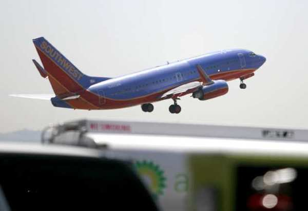 A Southwest Airlines plane takes off from Bob Hope Airport.