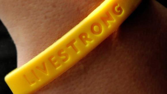 The trademark Livestrong bracelet.