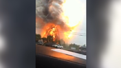 Explosion at train derailment site [Video]