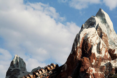 A roller coaster slowly creeps toward the promise of absolute terror at Expedition Everest, one of Walt Disney World's most exciting rides.