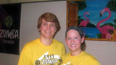 Fundraiser coordinators Kim Zimmerman and Zumba fitness instructor Stephanie Allison are shown at the event.